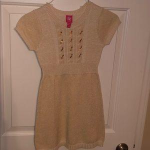 Girls Ivory Sweater Dress